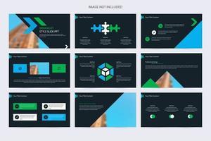 elementos minimalistas de apresentação de slides em azul, verde e preto