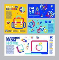 Back to school, online learning flyer and banner set vector