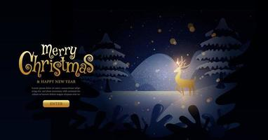 Christmas winter landscape landing page
