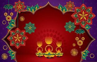 Background for Diwali festival celebration in India vector