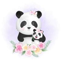 Baby panda and mom in flowers vector