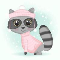 Baby raccoon wearing pink sweater and hat vector