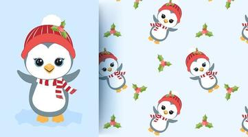 Penguin and holly pattern