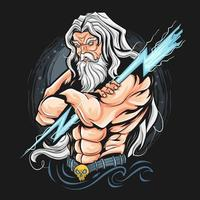 Thunder Zeus god artwork  vector