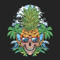 Tropical skull with pineapple head  vector