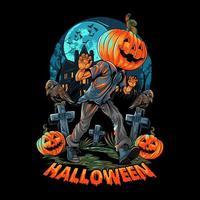 Pumpkin-headed human walking in front of haunted house