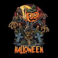 Halloween scarecrow and pumpkins design vector