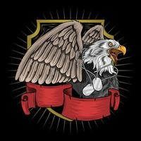 Eagle with military tag necklace vector