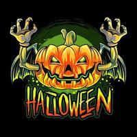 Vampire bat Halloween pumpkin head design vector