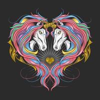 Unicorns in a heart shape