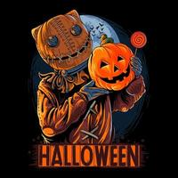 Halloween masked scarecrow man carrying pumpkin