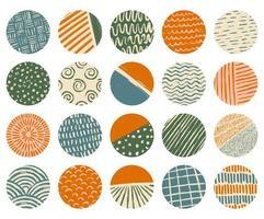 Set of circular textured various shapes, lines, spots, dots