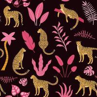 Patron inconsútil dibujado a mano con leopardos y palmeras