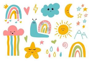 Kawaii cute smiling moon, cloud, star, rainbow, sun elements