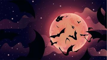 Bats Flying Up to Sky Moon Scene