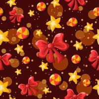 Bows, Stars, Swirl Candies Repetitive Background vector