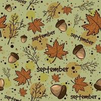 Autumn Season Background with Leaves, Acorns, Branches