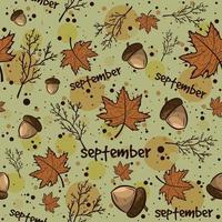 Fondo de temporada de otoño con hojas, bellotas, ramas.