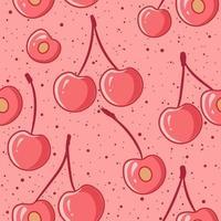 Pink cherries seamless pattern vector