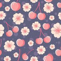 cerezas y flores de patrones sin fisuras