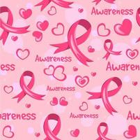 Repetitive Pink Ribbon Background vector