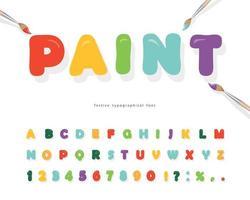 fuente de pintura de dibujos animados para el diseño de niños vector