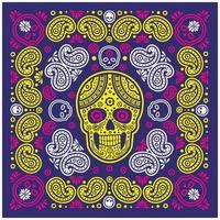 patrón de bandana azul, amarillo, rosa con calavera y paisley