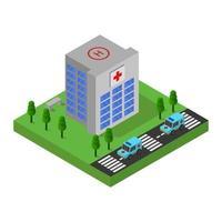 Hospital isométrico con diseño de estacionamiento.