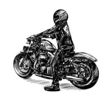Drawing of the Motorcycle Riders Isolated Hand Drawn