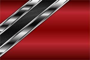 Fondo metálico rojo y plateado con textura oscura.