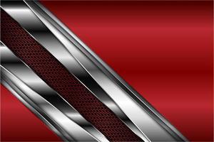 Fondo metálico brillante rojo y plateado vector