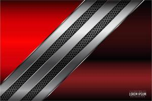 Red and silver metallic panels with carbon fiber stripes