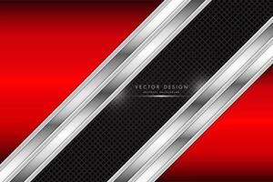 Red and silver background with carbon fiber strip vector