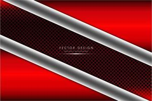 Red and silver metallic background with carbon fiber vector