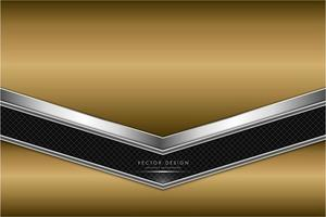 Gold and silver metallic background with carbon fiber. vector