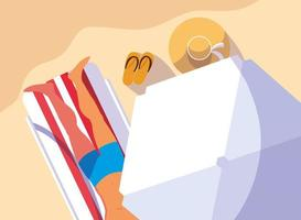 Man with swimsuit tanning on beach vector