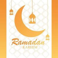 Ramadán kareem luna diseño tradicional con lámparas colgantes.