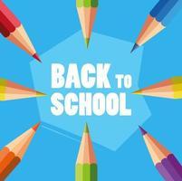 cartel de regreso a la escuela con lápices de colores