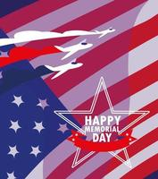 Happy memorial day card with USA flag  vector