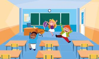 Little student kids in the classroom vector