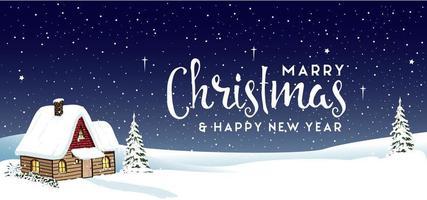 diseño de paisaje de invierno de casa de navidad