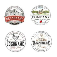 Farm agriculture logo set