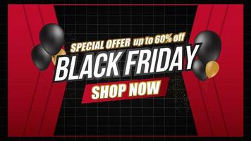 Black Friday sale balloons and grid banner