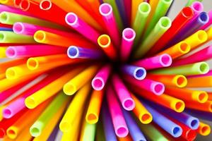 Close-up above colorful plastic tubes