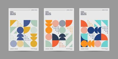 Set of Retro Geometric Covers with cheerful Color vector