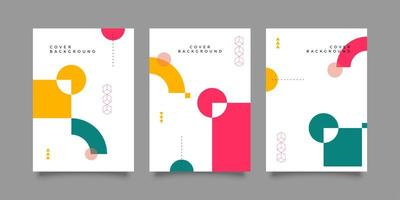 Flat covers with geometric design vector