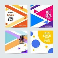 verkoop social media-berichten met felle kleuren