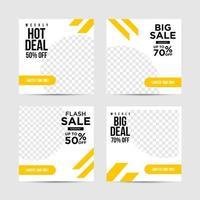 Flat yellow social media post templates vector