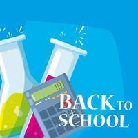 Calculadora de regreso a la escuela y tubos de ensayo.