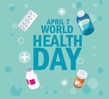 tarjeta del día mundial de la salud con botellas y medicamentos.